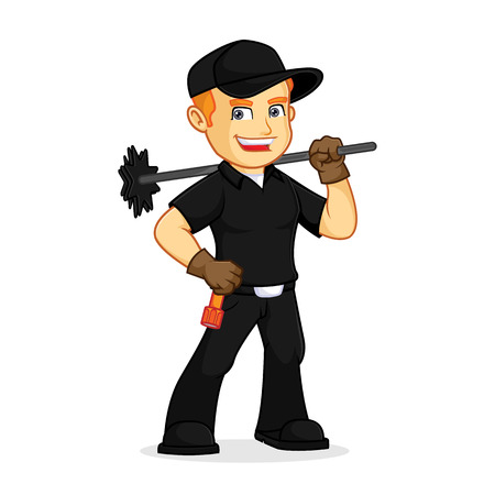 Chimney Sweeper hold chimney sweep broom cartoon illustration, can be download in vector format for unlimited image size Illustration