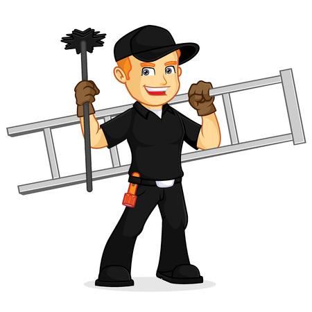 Schornsteinfeger halten Leiter und Besen Cartoon Illustration, kann im Vektorformat für unbegrenzte Bildgröße heruntergeladen werden