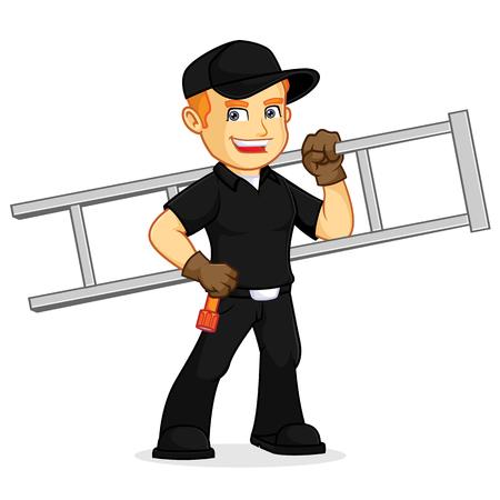 Schornsteinfeger halten Leiter Cartoon Illustration, kann im Vektorformat für unbegrenzte Bildgröße heruntergeladen werden download