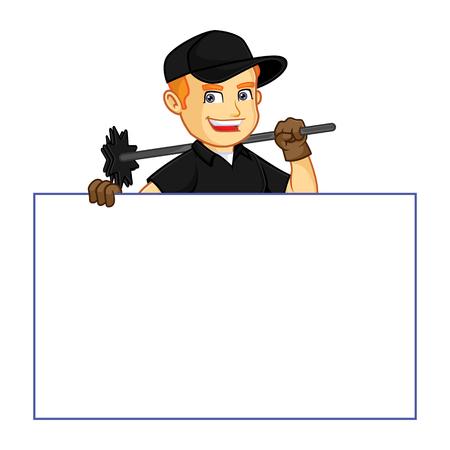 Chimney Sweeper hold white sign cartoon illustration, can be download in vector format for unlimited image size