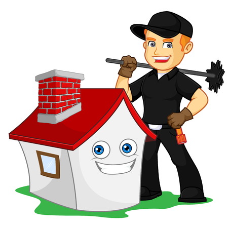 Chimney Sweeper holding chimney sweep broom cartoon illustration, can be download in vector format for unlimited image size Archivio Fotografico - 124948573