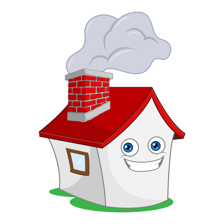 House with smoking chimney cartoon illustration, can be download in vector format for unlimited image size Archivio Fotografico - 124948574