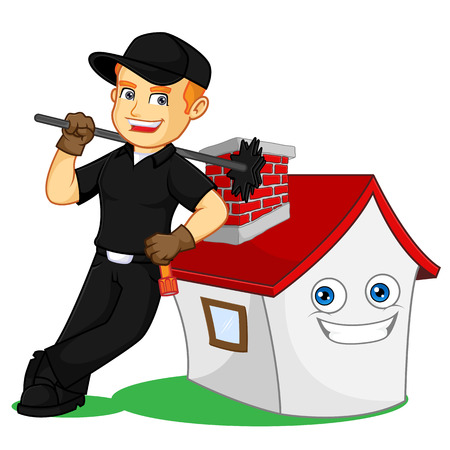 Lo spazzacamino appoggiato su un'illustrazione di cartone animato di una casa, può essere scaricato in formato vettoriale per dimensioni dell'immagine illimitate Vettoriali
