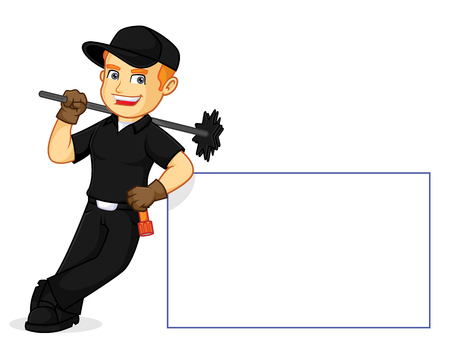 Chimney Sweeper leaning on a white sign cartoon illustration, can be download in vector format for unlimited image size Ilustração