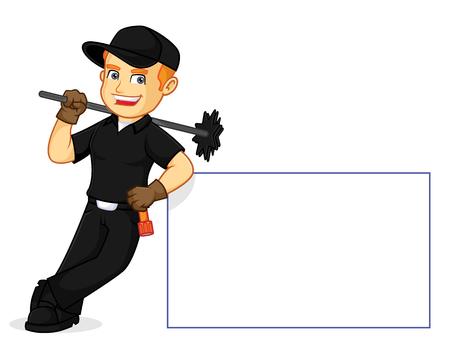 Kominiarz oparty na ilustracji kreskówek z białym znakiem, można pobrać w formacie wektorowym, aby uzyskać nieograniczony rozmiar obrazu