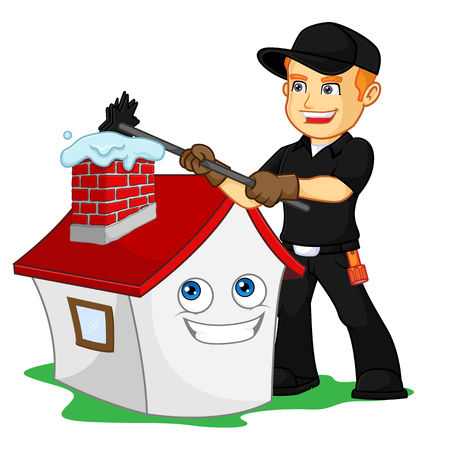 Chimney Sweeper sweeping chimney cartoon illustration, can be download in vector format for unlimited image size Archivio Fotografico - 124948577