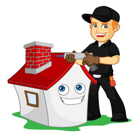 Chimney Sweeper wodoodporna ilustracja kreskówka komina, można pobrać w formacie wektorowym, aby uzyskać nieograniczony rozmiar obrazu Ilustracje wektorowe