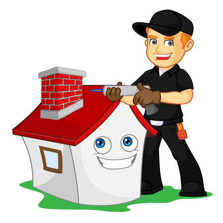 Chimney Sweeper waterproffing chimney cartoon illustration, can be download in vector format for unlimited image size