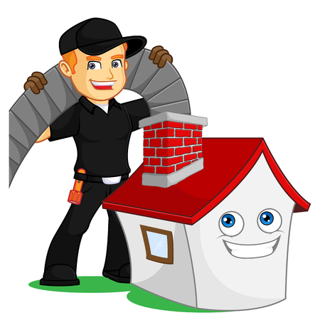 Chimney Sweeper with cleaning chimney sweep machine cartoon illustration, can be download in vector format for unlimited image size Archivio Fotografico - 124948579