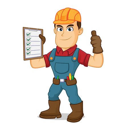 Handyman holding task list cartoon illustration, can be download in vector format for unlimited image size Archivio Fotografico - 124692253