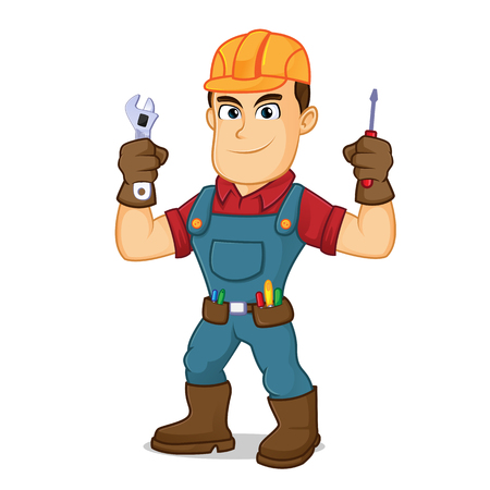 Handyman holding wrench and screwdriver cartoon illustration, can be download in vector format for unlimited image size