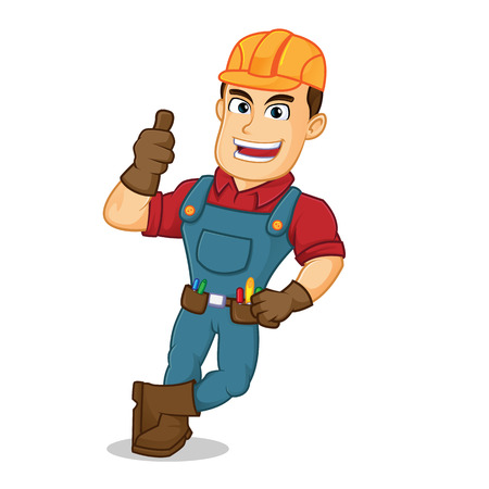 Handyman leaning give thumb up cartoon illustration, can be download in vector format for unlimited image size 向量圖像