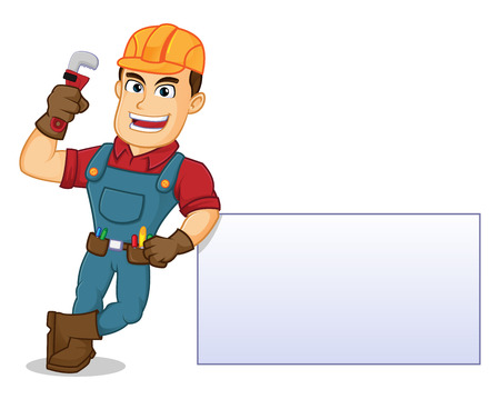 Handyman leaning on blank sign hold pipe wrench cartoon illustration, can be download in vector format for unlimited image size
