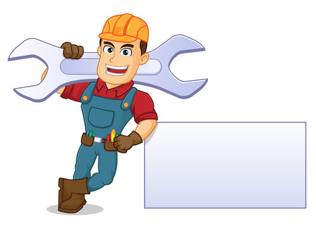 Handyman leaning on blank sign hold wrench cartoon illustration, can be download in vector format for unlimited image size