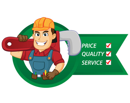 Handyman with service lists hold pipe wrench cartoon illustration, can be download in vector format for unlimited image size