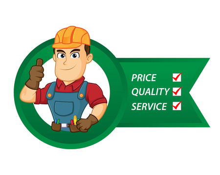 Handyman with service lists cartoon illustration, can be download in vector format for unlimited image size Archivio Fotografico - 124692259