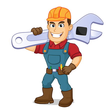 Handyman carrying adjustable wrench cartoon illustration, can be download in vector format for unlimited image size Archivio Fotografico - 124692260