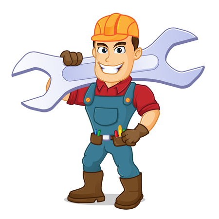 Handyman carrying wrench cartoon illustration, can be download in vector format for unlimited image size