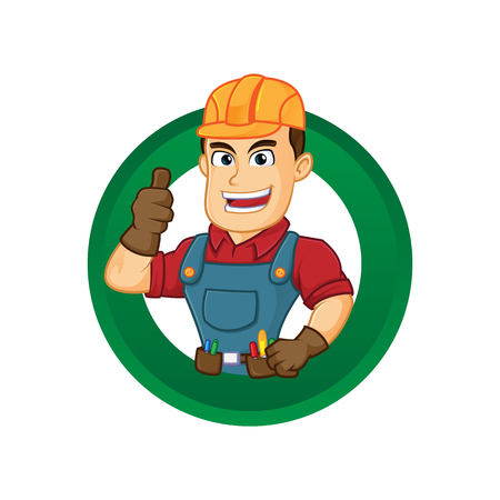 Handyman give thumb up inside circle cartoon illustration, can be download in vector format for unlimited image size