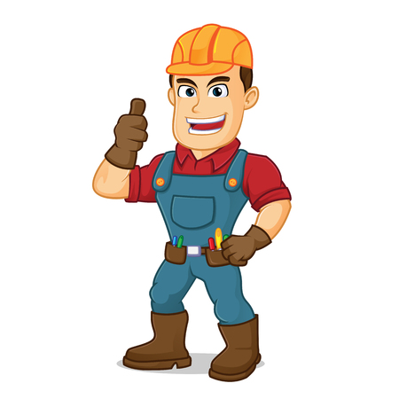 Handyman give thumb up cartoon illustration, can be download in vector format for unlimited image size Archivio Fotografico - 124692263