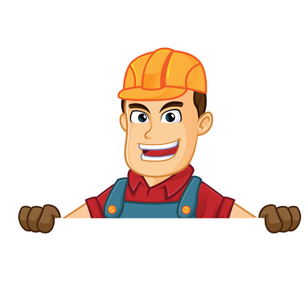 Handyman hold blank sign cartoon illustration, can be download in vector format for unlimited image size Archivio Fotografico - 124692265