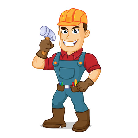 Handyman holding hammer cartoon illustration, can be download in vector format for unlimited image size Archivio Fotografico - 124692266