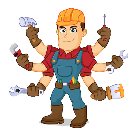 Handyman holding mutiple tools cartoon illustration, can be download in vector format for unlimited image size Archivio Fotografico - 118377084