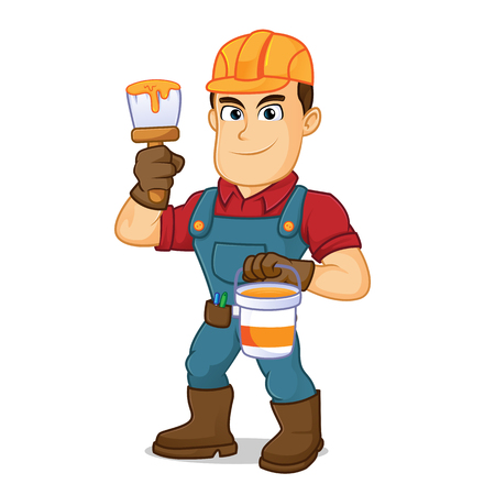 Handyman holding paint brush and paint cartoon illustration, can be download in vector format for unlimited image size Çizim
