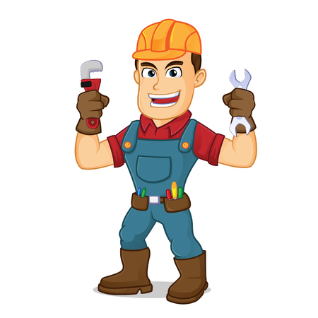 Handyman holding pipe wrench cartoon illustration, can be download in vector format for unlimited image size 向量圖像