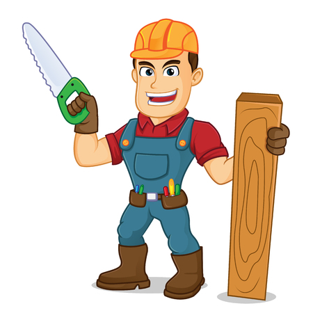 Handyman holding saw and wood plank cartoon illustration, can be download in vector format for unlimited image size