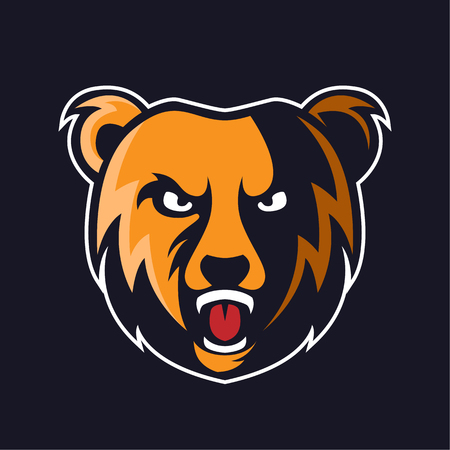 Bear logo mascot vector can be downloaded in vector format for unlimited image size and to easilly change colors Illustration