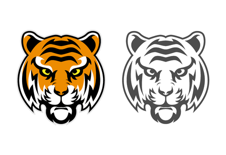 Tiger Head Clipart Mascot Logo can be downloaded in vector format for unlimited image size and to easilly change colors Archivio Fotografico - 119887862