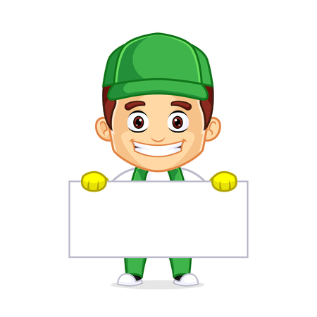 Cleaning Service clipart cartoon mascot, can be download in vector format for unlimited image size Archivio Fotografico - 120484982