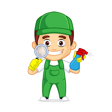 Cleaning Service clipart cartoon mascot, can be download in vector format for unlimited image size Archivio Fotografico - 120484984