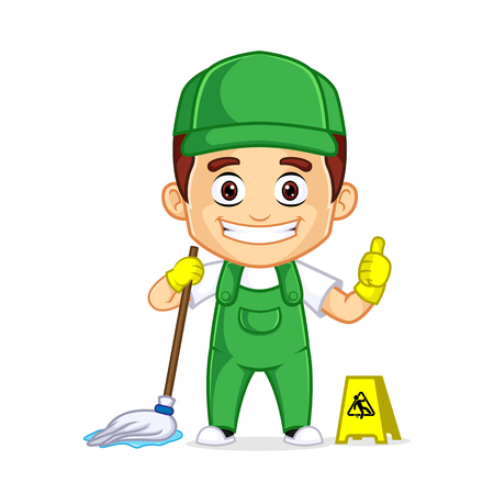 Cleaning Service clipart cartoon mascot, can be download in vector format for unlimited image size Archivio Fotografico - 120485009