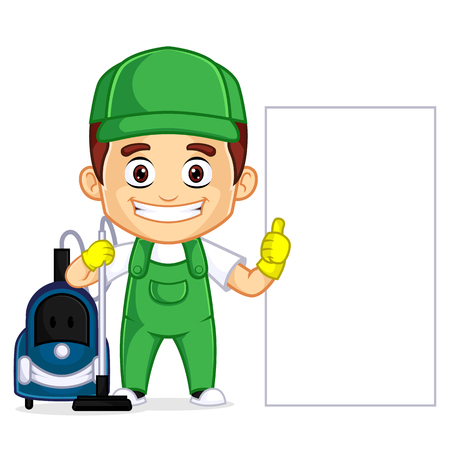 Cleaning Service clipart cartoon mascot, can be download in vector format for unlimited image size Archivio Fotografico - 120485022