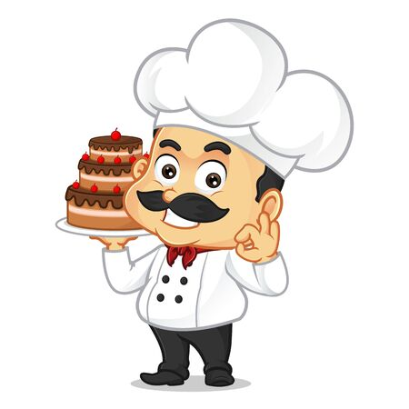 Chef cartoon serving cake isolated in white background Ilustração