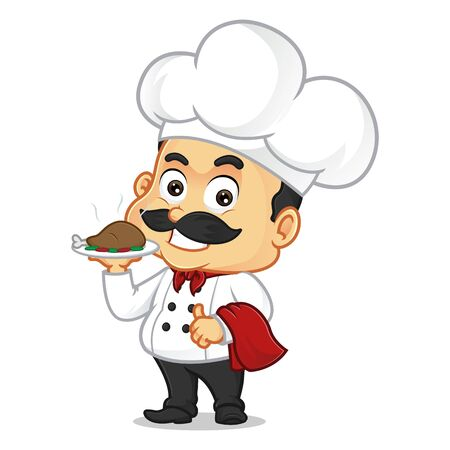 Chef cartoon serving chicken and smiling isolated in white background Ilustração