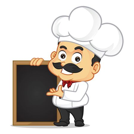 Chef cartoon with black board isolated in white background