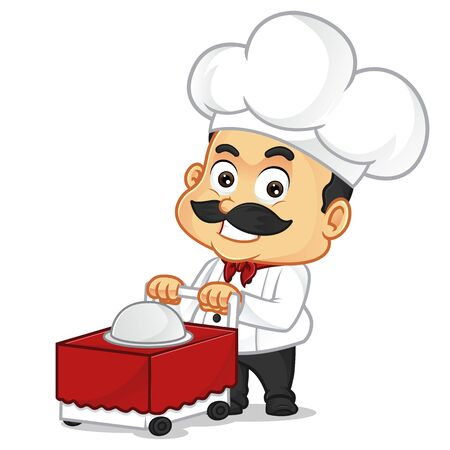 Chef cartoon with food trolley isolated in white background