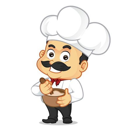 Chef cartoon cooking isolated in white background