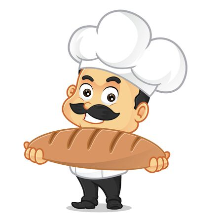 Chef cartoon holding bread isolated in white background