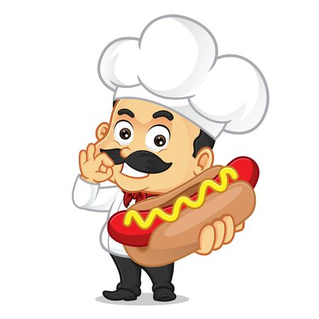 Chef cartoon holding hotdog isolated in white background