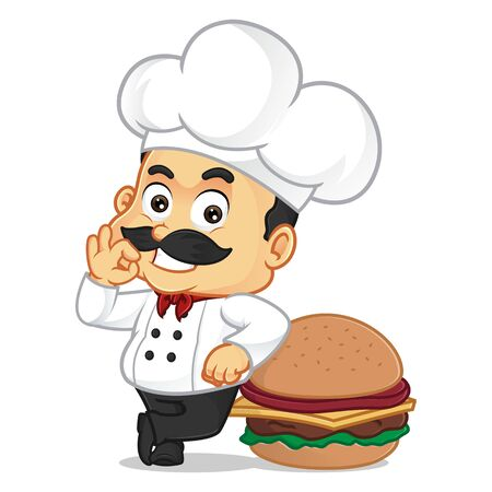 Chef cartoon leaning on burger isolated in white background