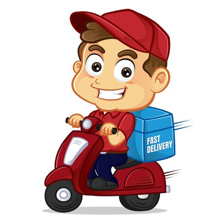 Food delivery man delivering food on scooter isolated in white background