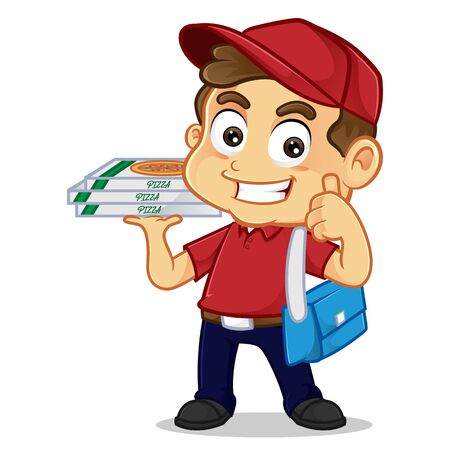 Food delivery man delivering pizza and giving thumb up isolated in white background