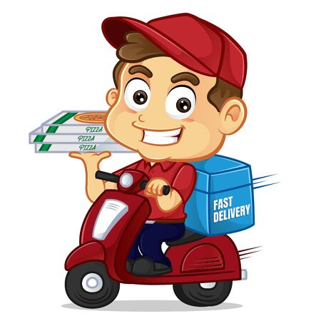 Food delivery man delivering pizza on scooter isolated in white background Ilustração