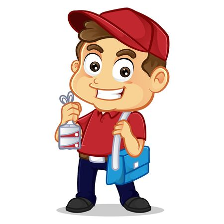 Food delivery man holding food and smiling isolated in white background Ilustração