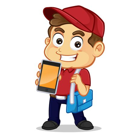 Food delivery man holding phone and smiling isolated in white background