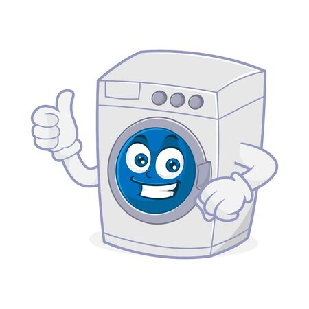 Washing machine mascot give thumb up Isolated in white background Vettoriali